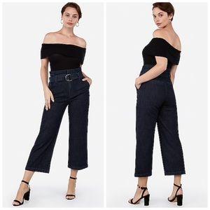 Express | Super High Waist Belted Crop Jeans